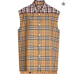 Burberry check plaid shirt sleeveless NWT classic